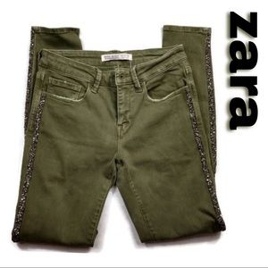 Zara Army Green Sparkly Tuxedo Striped Jeans